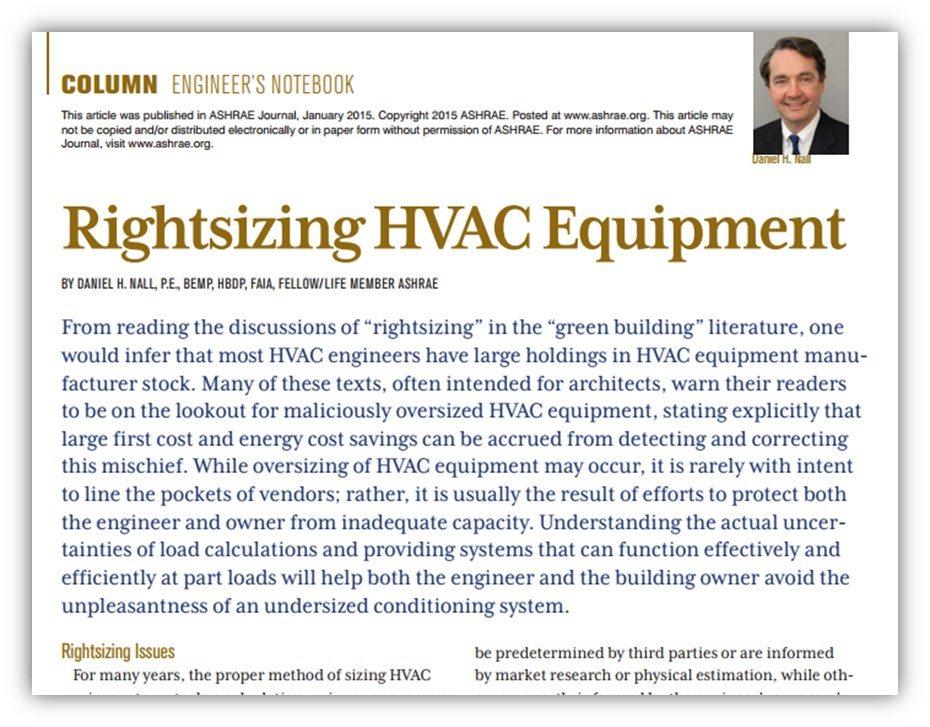 Rightsizing HVAC Equipment, by Dan Nall